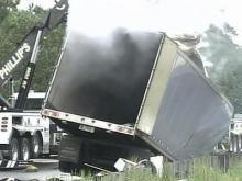 Truck catches fire, backs up traffic in Fayetteville