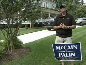 Haze Lancaster says he's had about 30 signs supporting Sen. John McCain stolen from his front yard.