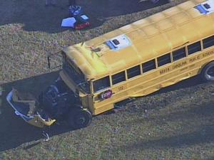 A Johnston County school bus carrying 16 children crashed on Antioch Church Road near Highway 39 in Middlesex.