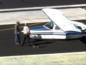 A pilot and his dog were unhurt after an emergency landing at the Sanford-Lee County Regional Airport. The single-engine plane's landing gear wouldn't deploy.