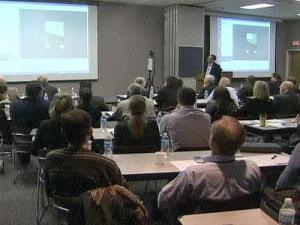 People attend a CSI symposium at N.C. State University on Dec. 5, 2008.