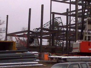 A crane collapsed into the skeleton of an office building under construction in north Raleigh on Dec. 19, 2008.