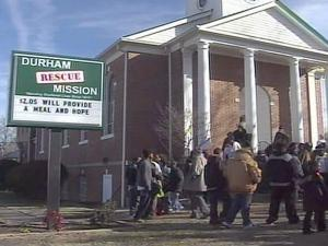 The sluggish economy sent more than 2,800 people to the Durham Rescue Mission on Tuesday to ensure their children got a toy for Christmas.