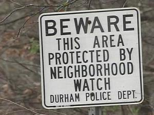 A sign in the Walden Pond community of Durham.