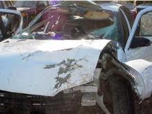 A deer hit Kristina Olive's car and landed in the passenger seat next to her.