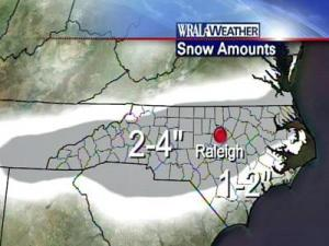 2 to 4 inches of snow predicted near Raleigh on Jan. 20, 2009.