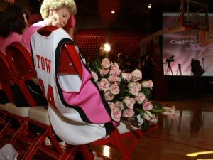 Flowers are piled high to remember Coach Kay Yow.