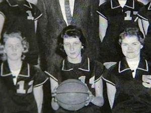Kay Yow, with basketball, was a star player on the Gibsonville High School girls basketball team in the late 1950s.