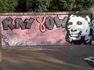 A spray-painted tribute to Kay Yow at the N.C. State Free Expression Tunnel on Feb. 1, 2009 - a day after it was defaced with blue paint and profanities.