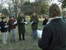 People gathered for a candlelight vigil to raise awareness and activism against violence. The vigil was held across the street from City Hall in Raleigh on Feb. 5, 2009.