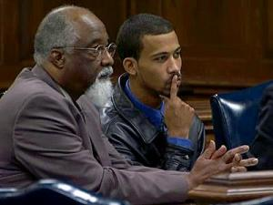 In an undated photo, James Johnson, right, appears in a Wilson County courtroom with his attorney, North Carolina Central University law professor Irving Joyner.