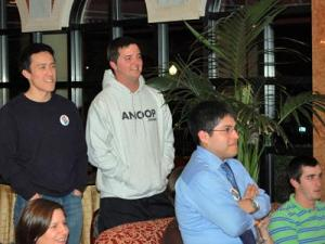 "Kenji Brantley, Hogan Medlin and Pablo Vega watch the TV Tuesday evening during the ""American Idol"" viewing party for their friend Anoop Desai at the Siena Hotel in Chapel Hill."