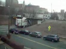 Truck crashes into Gregson Street bridge