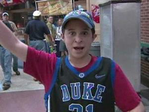 A Duke fan attends the first round of the NCAA tournament in Greensboro, where Duke faced Binghamton on March 19, 2009.