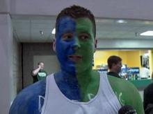 Longtime Duke fan Jason Smith has lived in Binghamton, N.Y. all of his life. He represented both teams by wearing each teams color on his face during the game on March 19, 2009.