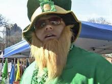 A big man dressed up as a little leprechaun for the St. Patrick's Day Festival in Moore Square in downtown Raleigh on Saturday, March 21, 2009.