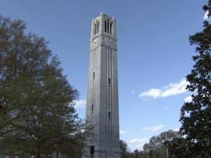 The North Carolina State University bell tower was never finished because of the Great Depression.