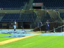 Durham Bulls players practice before their home opener against the Norfolk Tide on April 9, 2009.