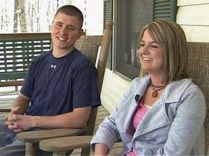 """Cpl. Justin Garner, left, and his wife, Stephanie, say it's still hard for them to realize the magnitude of the nursing home shooting. """"It still hasn't set in,"""" Stephanie Garner says."""