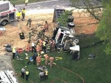 Sky 5 flies over dump truck wreck