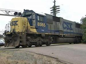 A CSX train rolls through downtown Raleigh. Some residents said they don't want to hear the trains' horns anymore.