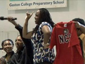 At a schoolwide ceremony April 30, all the seniors at KIPP Pride High School in Gaston stood up and announced their final college plans. They celebrated, waving T-shirts from their chosen colleges.