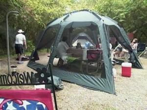 Vacationers enjoy camping at Kerr Lake State Recreation Area on May 24, 2009.