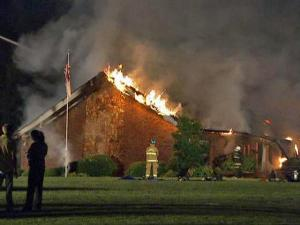 Firefighters battled a blaze that started at Mt. Calvary Baptist Church in Clayton early Wednesday, May 6, 2009.