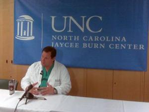 Dr. Bruce Cairns, of North Carolina Jaycee Burn Center at UNC Hospitals, speaks about the center's treatment of burn victims from the ConAgra Foods plant explosion.