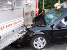 Car carrying two N.C. State students crashes into fire truck