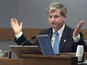 Wake County Commissioner Tony Gurley expresses his frustration with trying to balance the 2009-10 budget during a June 15, 2009, Board of Commissioners meeting.