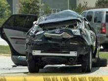 Police were on the scene of a single-vehicle wreck at the intersection of Green Level to Durham Road and Cary Glen Boulevard in Cary on June 22, 2009.