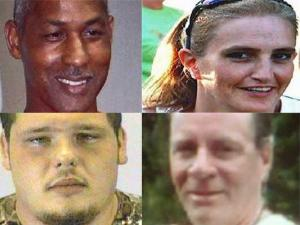 (Left to right) Bill Holland, Lisa Simmons, (top) Mark Hill and Charles Kirkland Jr. (bottom), all of Wayne County, died when a truck carrying fireworks exploded on Ocracoke Island July 4, 2009. The four were part of a crew setting up for the village's fireworks display.