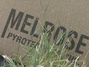 A box leftover from the July 4, 2009 fireworks display in Belhaven. Some of the fireworks, from South Carolina-based Melrose South Pyrotechnics, malfunctioned during the display.