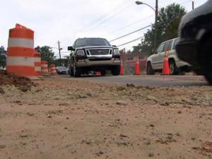 Construction on Hillsborough Street has reduced traffic to one lane in each direction – and sometimes one lane total – in front of N.C. State's campus.