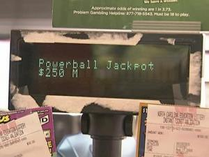 The Powerball jackpot rose to $250 million Tuesday.
