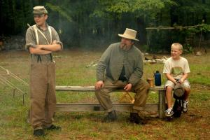 Kyle Watson, Robert Johnston and Jacob Pitts take a break at Bennett Place, the site of the largest troop surrender in the Civil War.  The next reenactment will take place here Oct. 10-11.