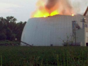 A fire at the Severn Peanut Company's storage warehouse, on Severn Road in Severn, burned on Aug. 29, 2009. (Submitted by David Barnes)