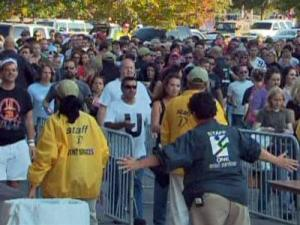 Crowds wait outside of the gates of Carter-Finley stadium on Oct. 3, 2009, for the U2 concert.