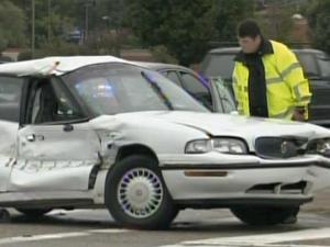 A school bus hit a passenger car Thursday morning in Fayetteville.