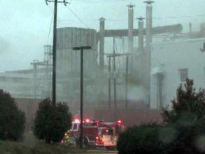 Firefighters were battling a blaze at the old J.P. Taylor Tobacco building, 800 J.P. Taylor Road in Henderson.