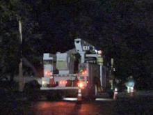 Strong winds knocked down a tree, causing a gas leak at Georgetown North townhomes in Raleigh on Nov. 12, 2009.