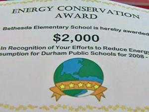 Durham Public Schools held a competition among its 45 schools to see which could conserve the most energy and save the most cash. Bethesda Elementary School took home the prize – $2,000, which represents a certain percentage of the money the school saved the system.