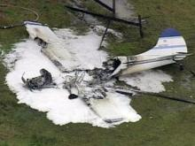 Sky 5 flies over burning plane in Chatham County
