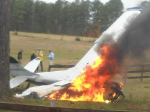 A small plane crashed and caught fire in a field off of N.C. Highway 751 in Durham on Nov. 25, 2009. (Photo courtesy of Kama Williams)
