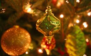 Decorations dangle from the Christmas tree in the WRAL-TV studio lobby.