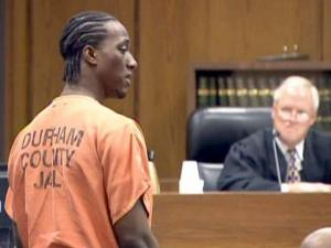 Thomas Rashawn Monroe apologizes to a Durham police officer on Dec. 9, 2009, as Monroe pleads guilty to wounding the officer in July 2009 because he thought someone was trying to break into his apartment.