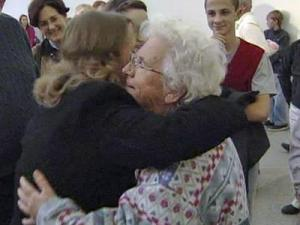 Helen Little is greeted by family and friends at Raleigh-Durham International Airport on Jan. 15, 2010 after returning from a mission trip to Haiti.