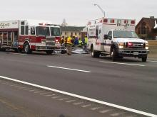 Emergency crews respond to a crash on I-85 South near Mebane Oaks Road in Mebane. (Photo by Justin Quesinberry/WFMY News 2)