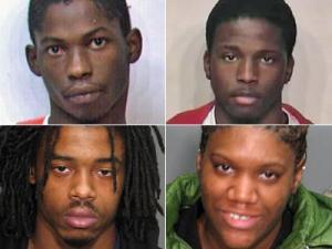 From top left, clockwise: Dwight Sherrod Taylor, Michael Javon Spencer, Tahji Antoine Eley and Shaniqua Shonta Burrell.